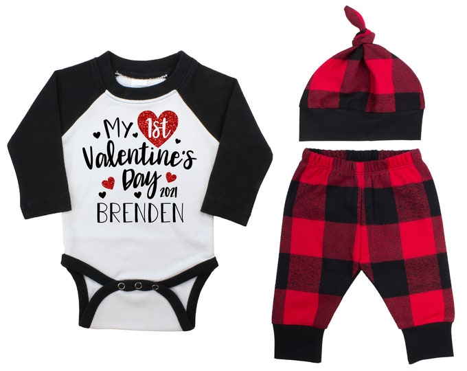 My First Valentine's Day 2021 Red Glitter Vinyl Personalized Raglan Outfit Boy Valentines Day Bodysuit Hearts Buffalo Plaid Flannel Pants