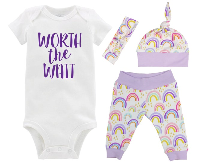 Worth the Wait Rainbow Baby Girl Coming Home Outfit Pastel Watercolor Rainbow Yoga Leggings Knot Hat Headband Miscarriage Infant Loss