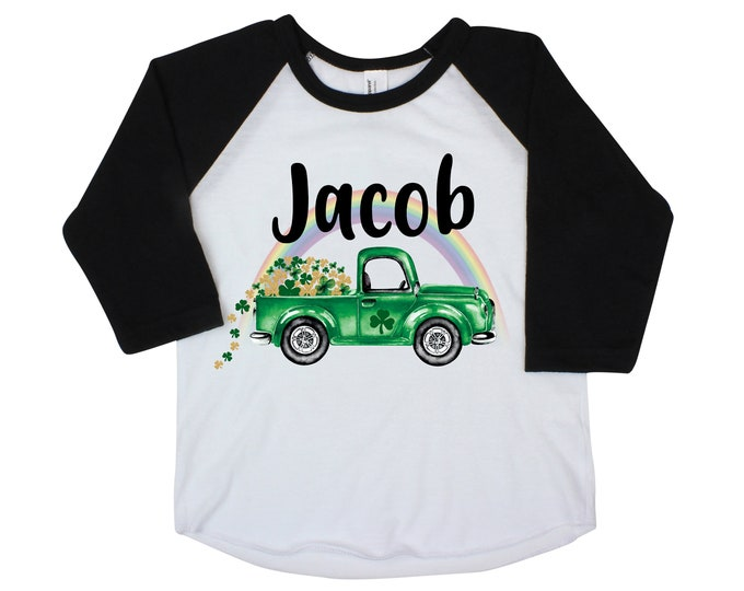 St. Patricks Day Shamrock Truck Boy St. Patty's Day Rainbow Clover Lucky Green Truck Shirt Toddler Kids Baby Raglan Bodysuit Boy