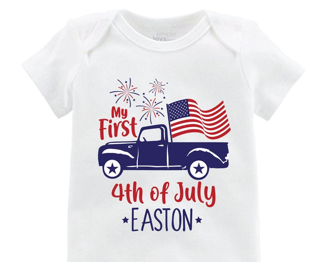 My First 4th of July Boy Truck Shirt American Flag Personalized Old Blue Truck Fourth of July Boy Shirt Name Monogram Red Blue Fireworks
