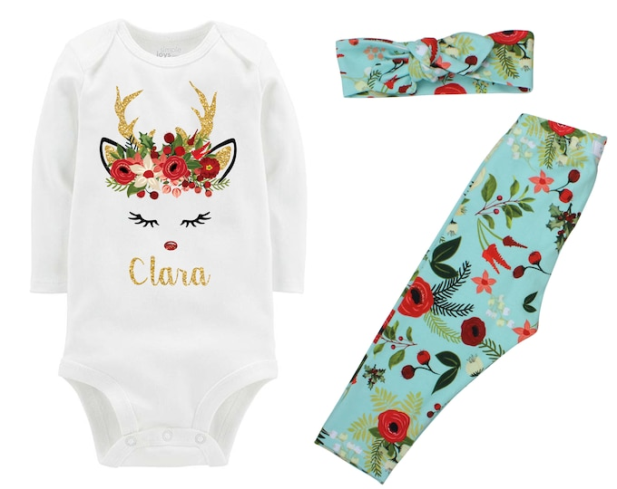Girl Christmas Reindeer Outfit Personalized Aqua Christmas Floral Leggings Gold Sparkle Holly Berries Outfit Bodysuit Headband Leggings