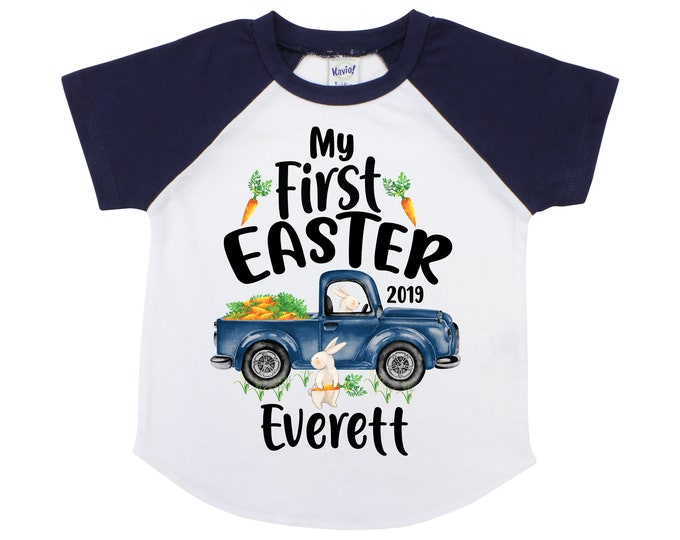 My First Easter Boy Easter Shirt Truck and Bunny Shirt Personalized Easter Shirt Bunny and Carrots Old Blue Truck Carrying Carrots