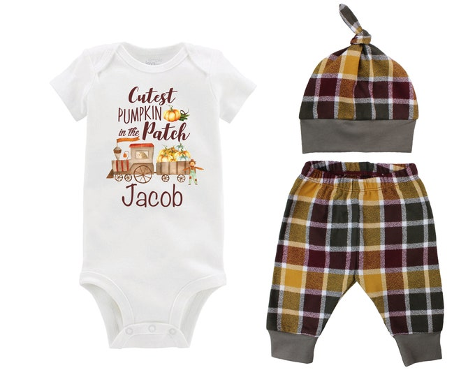 Boy Cutest Pumpkin in the Patch Fall Train Shirt Outfit Bodysuit Pumpkin Plaid Maroon Mustard Green Flannel Pants Baby Gift Top Knot Hat