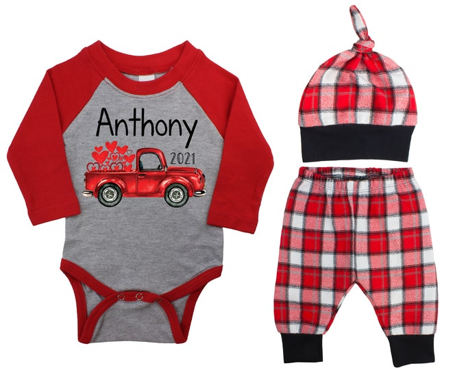 Baby Boy Valentine's Day 2021 Truck Personalized Raglan Outfit Boy Valentines Day Bodysuit Hearts Vintage Truck Buffalo Plaid Flannel Pants