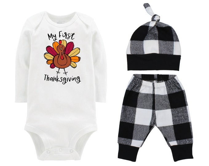 My First Thanksgiving Turkey Fall Personalized Outfit Pumpkin Plaid Black And White Flannel Pants Baby Bodysuit Shirt Gift Top Knot Hat