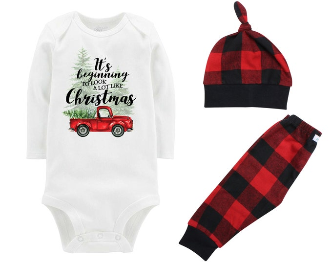 Christmas Tree Truck Bodysuit Buffalo Plaid Pants Winter Baby Outfit Boy Red Black Buffalo Plaid It's Beginning to Look a lot Like Christmas