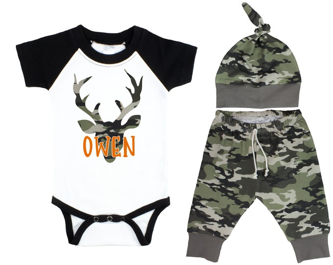 Camouflage Deer Baby Outfit Black Raglan Camo Pants Hat Top Knot Hat Short Long Sleeves Camouflage Antlers Buck Monogram Name Personalized