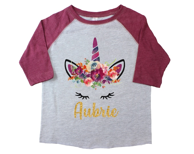 Girl Fall Watercolor Unicorn Floral Raglan Burgundy Gray Personalized Flowers Girly Fall Shirt Monogrammed Glitter Floral Unicorn Jewel Tone