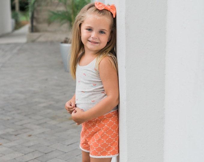 Coral Ripple Baby Shorts Toddler Shorts Girl Shorts Cluny Lace Trim Shorts Girly Shorts Cream and Coral Shorts Girl Baby Shorties Baby Gift