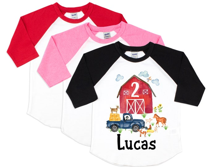 Birthday Watercolor Farm Shirt Unisex Black Red Pink Raglan Personalized Name Barn Animals Horse Chickens Lamb Pig Goat Vintage Truck Shirt