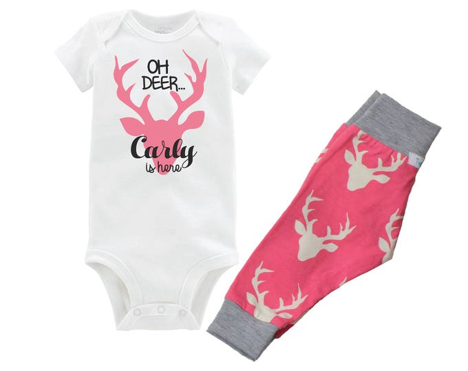 Oh Deer Newborn Coming Home Set Oh Deer Onesie Outfit Bodysuit Infant Pink and Gray Deer Girl Yoga Pants Infant Leggings Newborn Gift Set