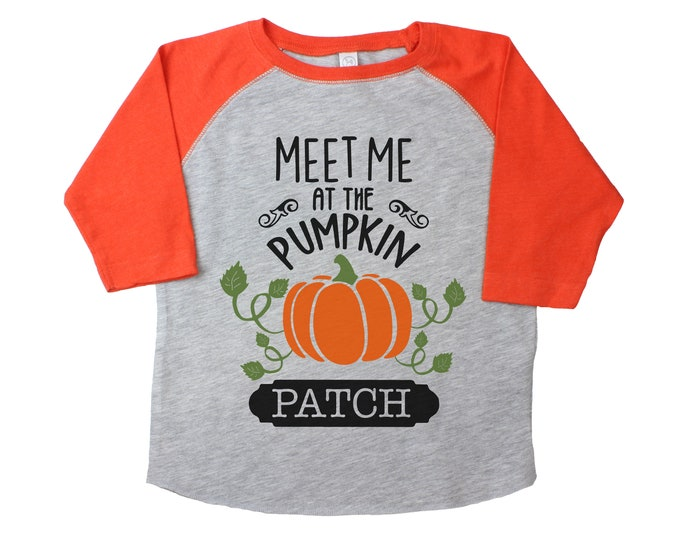 Meet Me at the Pumpkin Patch Gray Orange Raglan Boy Pumpkin Patch Shirt Boyish Fall Shirt Vintage Style Pumpkins