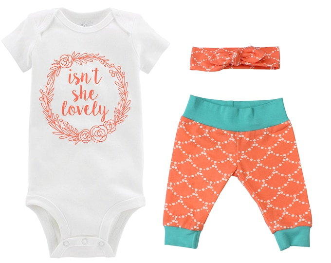 Isn't She Lovely Girl Going Home Outfit Newborn Baby Infant Set Floral Wreath Yoga Leggings Headband Orange Teal Infant Gift Set