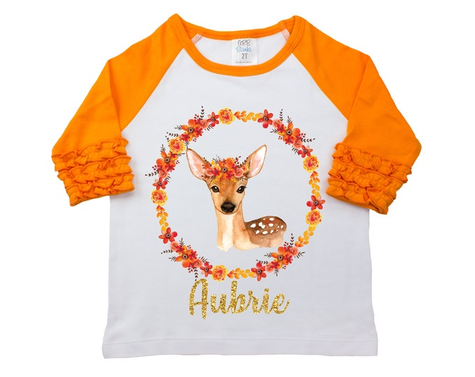 Fall Floral Deer Shirt Glitter Name Personalized Watercolor Floral Girl Shirt Orange Black Gold Glitter Name Halloween Thanksgiving Woodland