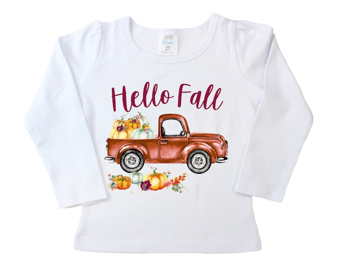 Hello Fall Old Truck Shirt White Long Sleeve Shirt Watercolor Floral Pumpkins Girly Pumpkin Patch Shirt Halloween Fall Shirt Rusty Truck