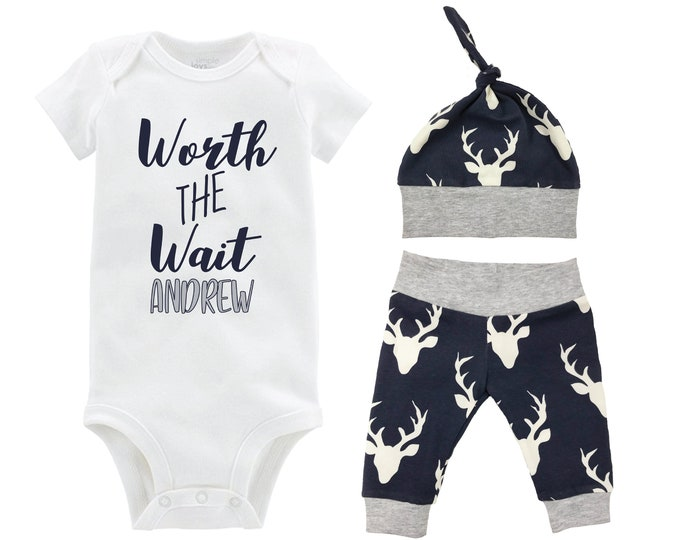 Boy Worth the Wait Going Home Outfit Yoga Pants Bodysuit Personalized Navy Gray Deer Boy Coming Home Top Knot Hat Baby Shower Gift Newborn