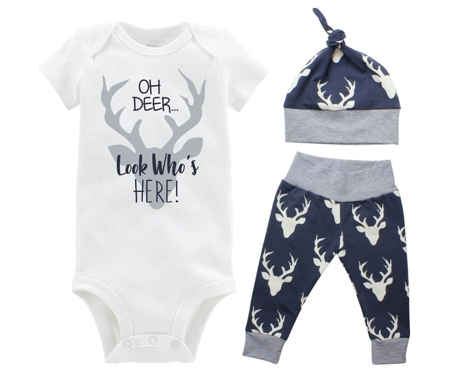 Oh Deer Look Who's Here Boy Coming Home Set Navy Gray Onesie Bodysuit Infant Gift Set Boy Going Home Outfit Buck Grey Navy Baby Shower Gift