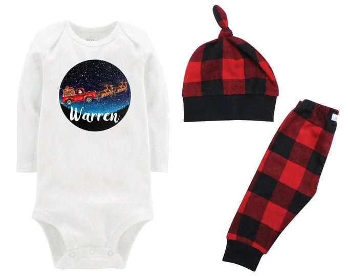 Boy Santa Reindeer Truck In Starry Sky Personalized Christmas Outfit Bodysuit Buffalo Flannel Pants Winter Boy Red Black Buffalo Plaid