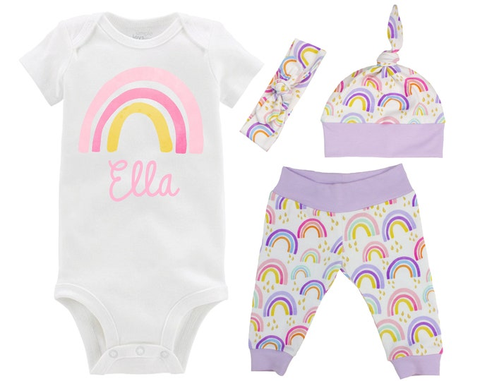 Girl Rainbow Baby Coming Home Outfit Personalized Watercolor Rainbow Yoga Leggings Knot Hat Headband Infertility Miscarriage Infant Loss