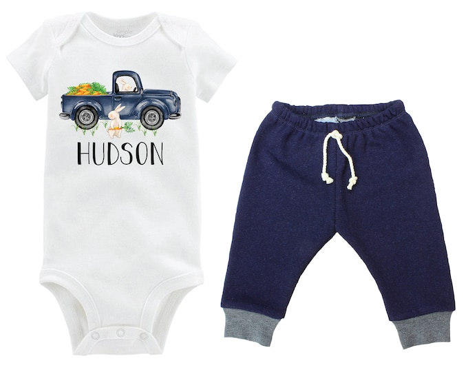 Boy Easter Outfit Personalized Boy Baby Jeggings Easter Bunny Truck Carrots Going Home Outfit Navy Gray Jegging Pants Boy Baby Gift