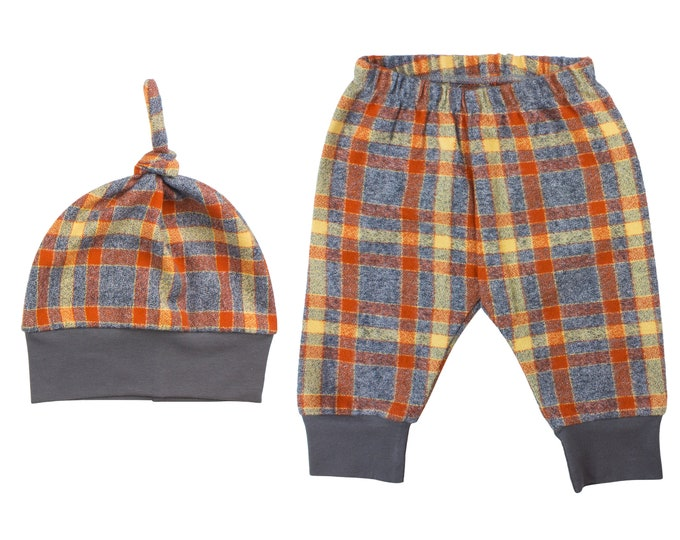 Orange Mustard Gray Plaid Fall Flannel Pants Boy Toddler Pants Fall Winter Pants Baby Buffalo Check Plaid Baby Fall Baby Pants Halloween