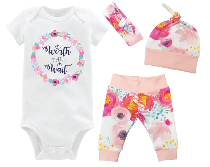 Worth the Wait Onesie Newborn Coming Home Set Onesie Infant Outfit Watercolor Floral Yoga Leggings Top Knot Hat Headband Infertility Onesie