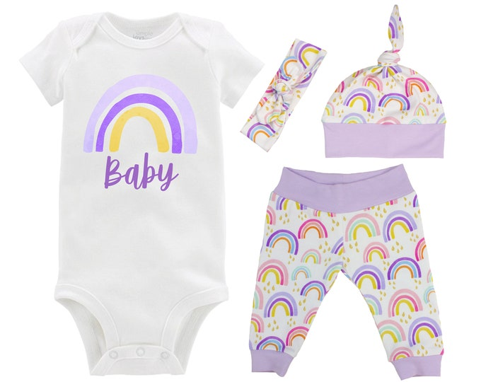 Rainbow Baby Girl Coming Home Outfit Pastel Watercolor Rainbow Yoga Leggings Knot Hat Headband Infertility Miscarriage Infant Loss