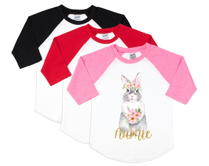 Girl Easter Shirt Watercolor Bunny Rabbit Personalized Gold Glitter Name Glitter Monogram Bunny Easter Floral Pink Raglan Black Raglan