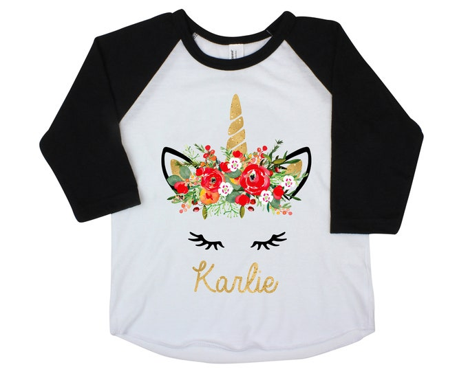 Watercolor Christmas Unicorn Face Shirt Gold Personalized Raglan Bodysuit Christmas Floral Unicorn Face Personalized Girl Shirt Holiday