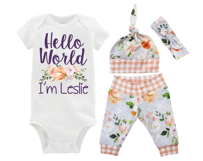 Hello World I'm Girl Going Home Outfit Newborn Baby Infant Set Wedding Floral Yoga Leggings Top Knot Hat Headband Infertility