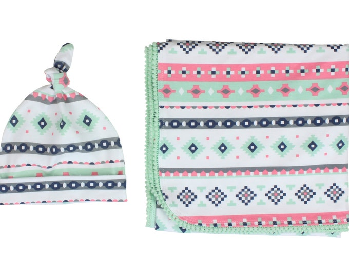 Mint Pink Tribal Newborn Swaddle Set Swaddle Blanket Top Knot Hat Knot Headband Feather Pom Pom Blanket Jersey Swaddle Baby Blanket Aztec