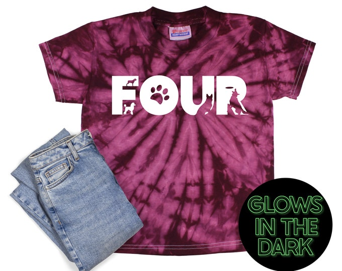 Boy Birthday Tie Dye Glow in the Dark Dog Shirt Maroon Spider Age Dog Birthday Party Shirt Boy Puppy Birthday Year Unisex T-Shirt