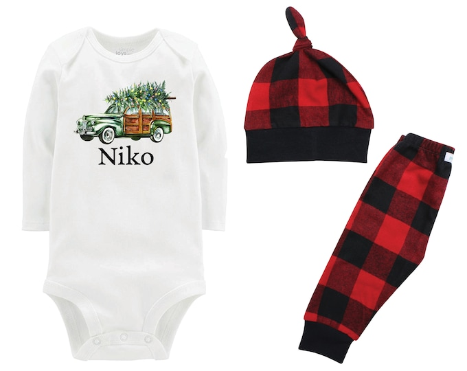 Boy Plaid Christmas Tree Green Vintage Wagon Personalized Outfit Christmas Bodysuit Buffalo Flannel Pants Winter Boy Red Black Buffalo Plaid