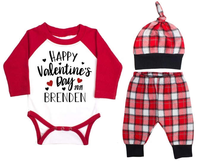 Happy Valentine's Day 2021 Red Glitter Vinyl Personalized Raglan Outfit Love Boy Valentines Day Bodysuit Hearts Buffalo Plaid Flannel Pants