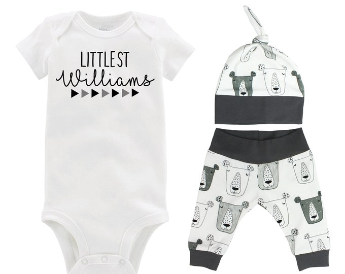 Littlest Personalized Last Name Boy Coming Home Outfit Gray White Bears Infant Gift Organic Cotton Going Home Baby Shower Boyish Outfit