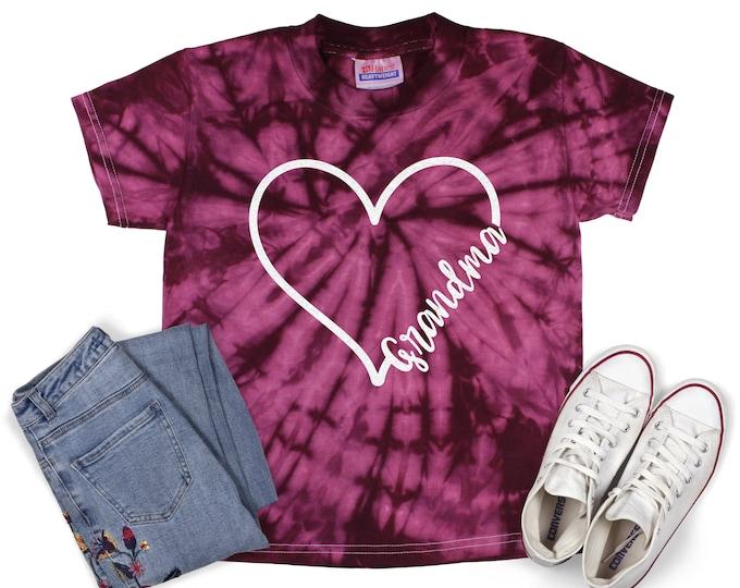 Grandma Heart Tie Dye Shirt Shirt Galaxy Bright Black Glitter Vinyl Inspirational Shirt Colorful Tie Dye Motivational Mom Heart Shirt