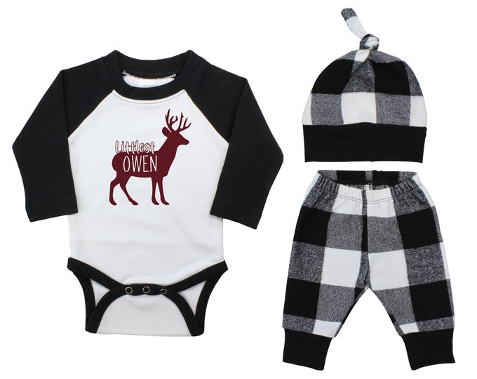 Boy Personalized Maroon Deer Stag Buck Littlest Outfit Fall Baby Raglan Outfit Fall Pants Knot Hat Black White Plaid Baby Bodysuit Raglan