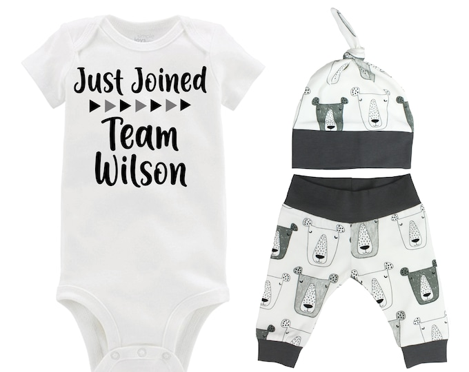 Boy Just Joined Team Last Name Personalized Coming Home Outfit Animal Gray Bears Organic Infant Gift Going Home Baby Shower Blue Black Teal