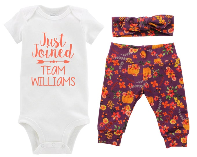 Fall Just Joined Team Personalized Going Home Outfit Mauve Orange Green Red Floral Yoga Leggings Headband Infant Outfit Last Name
