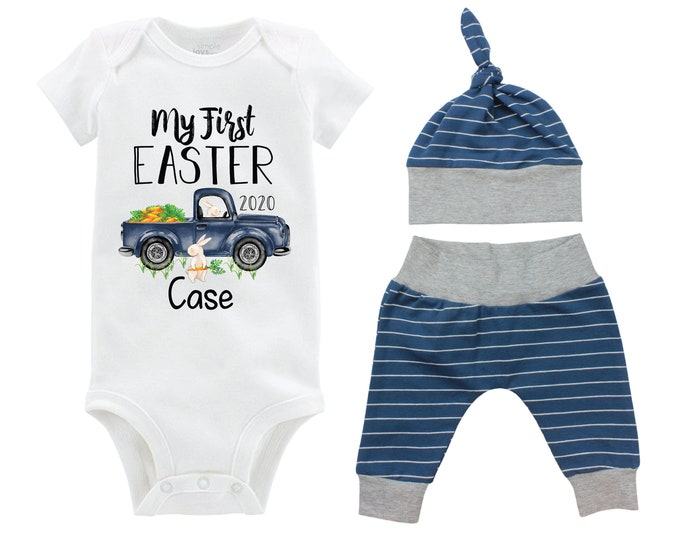 Boy First Easter Outfit Personalized Baby Easter Bunny Truck Carrots Going Home Outfit Yoga Pants Navy Gray Stripe Boy Knot Hat Baby Gift