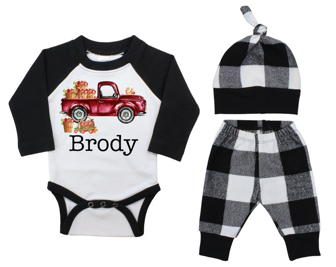 Boy Personalized Pumpkin Patch Apples Outfit Fall Baby Raglan Outfit Fall Pants Knot Hat Pumpkins Black White Plaid Baby Bodysuit Raglan