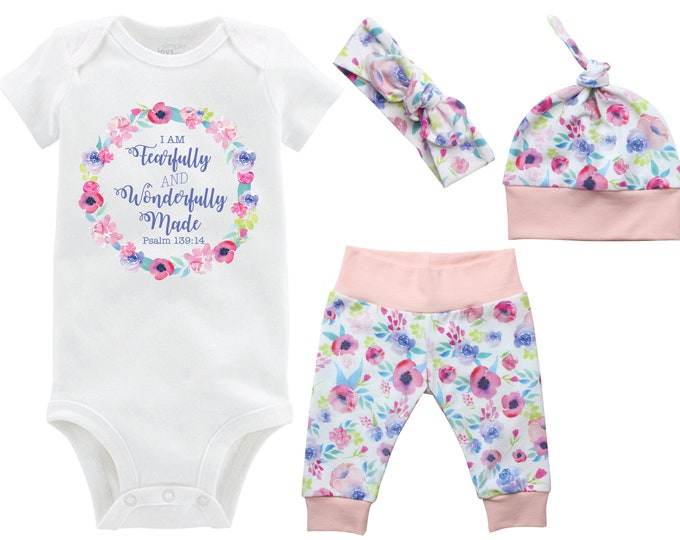 Fearfully and Wonderfully Made Girl Coming Home Set Onesie Infant Watercolor Floral Yoga Leggings Top Knot Hat Headband Infertility Onesie