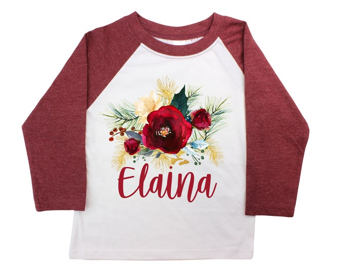 Girl Christmas Floral Personalized Shirt Watercolor Maroon Burgundy Raglan Pumpkin Patch Outfit Unisex Scribble Turkey Shirt Toddler Youth