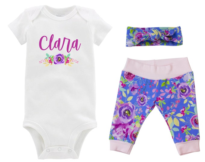 Personalized Newborn Going Home Outfit Girl Baby Name Pink Purple Mint Watercolor Floral Yoga Pants Knot Headband Infant Gift Set Monogram