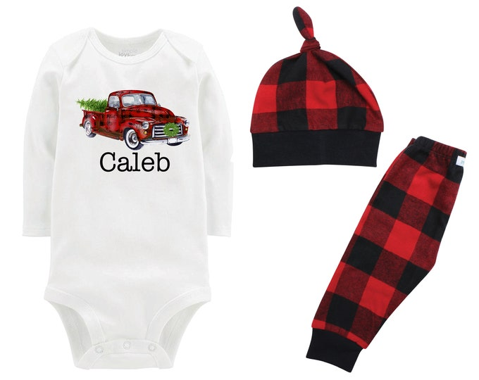 Boy Christmas Red Plaid Truck Wreath Personalized Outfit Vintage Christmas Tree Bodysuit Flannel Pants Winter Boy Red Black Buffalo Plaid