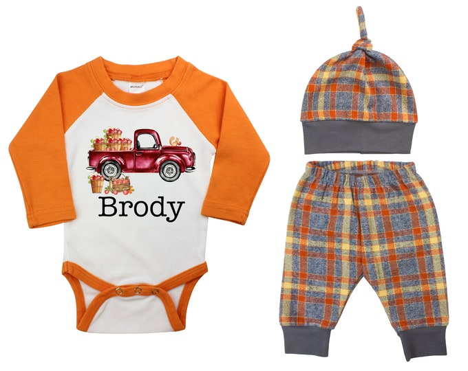 Personalized Apple Orchard Truck Outfit Fall Baby Raglan Orange Flannel Plaid Pants Knot Hat Pumpkins Old Truck Orange Gray Baby Raglan