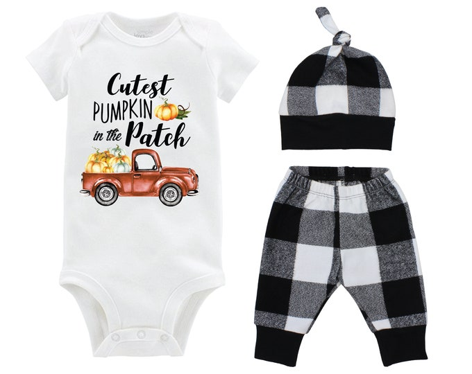 Cutest Pumpkin in the Patch Boy Bodysuit White and Black Buffalo Plaid Pants Fall Baby Outfit Old Rusty Truck Fall Baby Boy Outfit