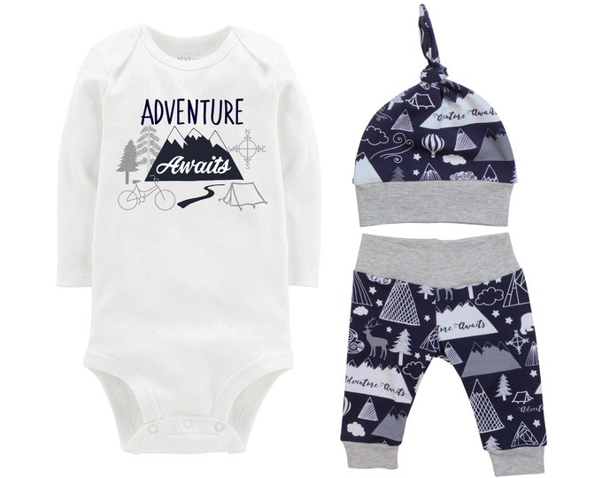 Adventure Awaits Going Home Set Mountain Navy Gray Onesie Bodysuit Adventure Infant Gift Set Monogram Boy Coming Home Outfit Trees Tent