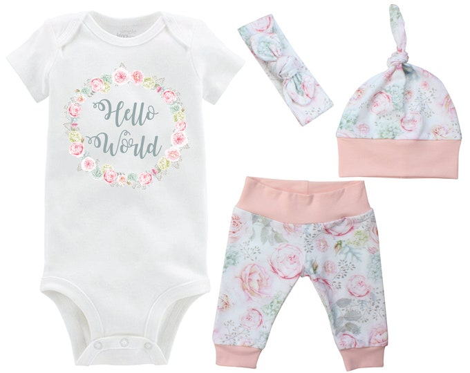 Hello World Onesie Newborn Going Home Outfit Onesie Rose Hydrangea Floral Watercolor Yoga Leggings Knot Hat Headband Infertility Onesie