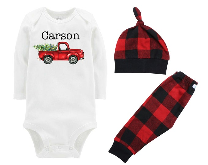 Boy Christmas Outfit Personalized Old Truck Christmas Tree Lights Bodysuit Buffalo Plaid Pants Winter Boy Red Black Buffalo Plaid